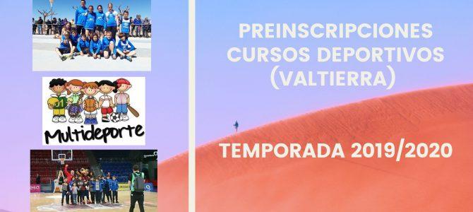PREINSCRIPCIONES CURSOS DEPORTIVOS INFANTILES  2019/2020 (VALTIERRA)